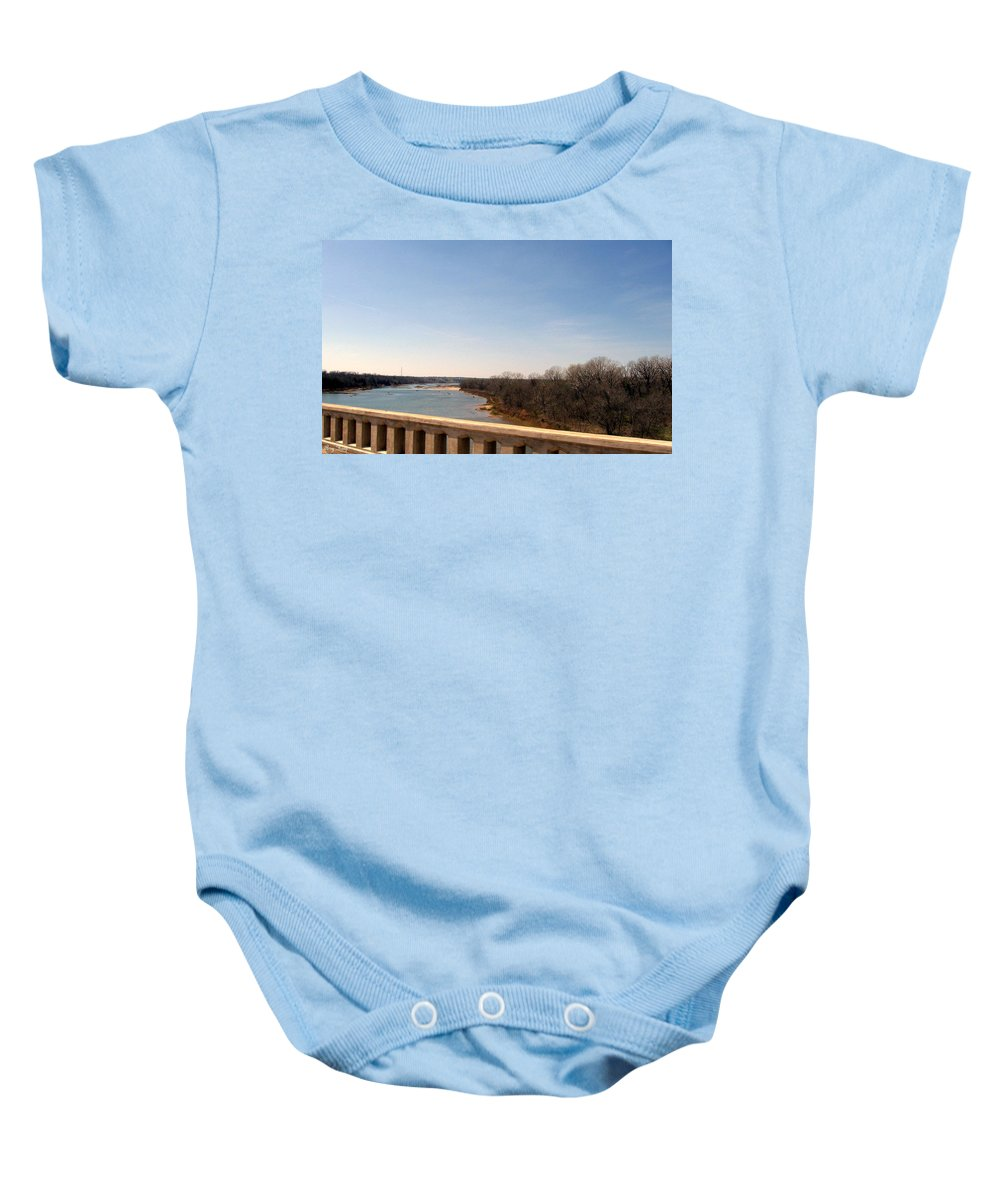 Bridge Baby Onesie featuring the photograph From The Bridge The Red River by Amy Hosp