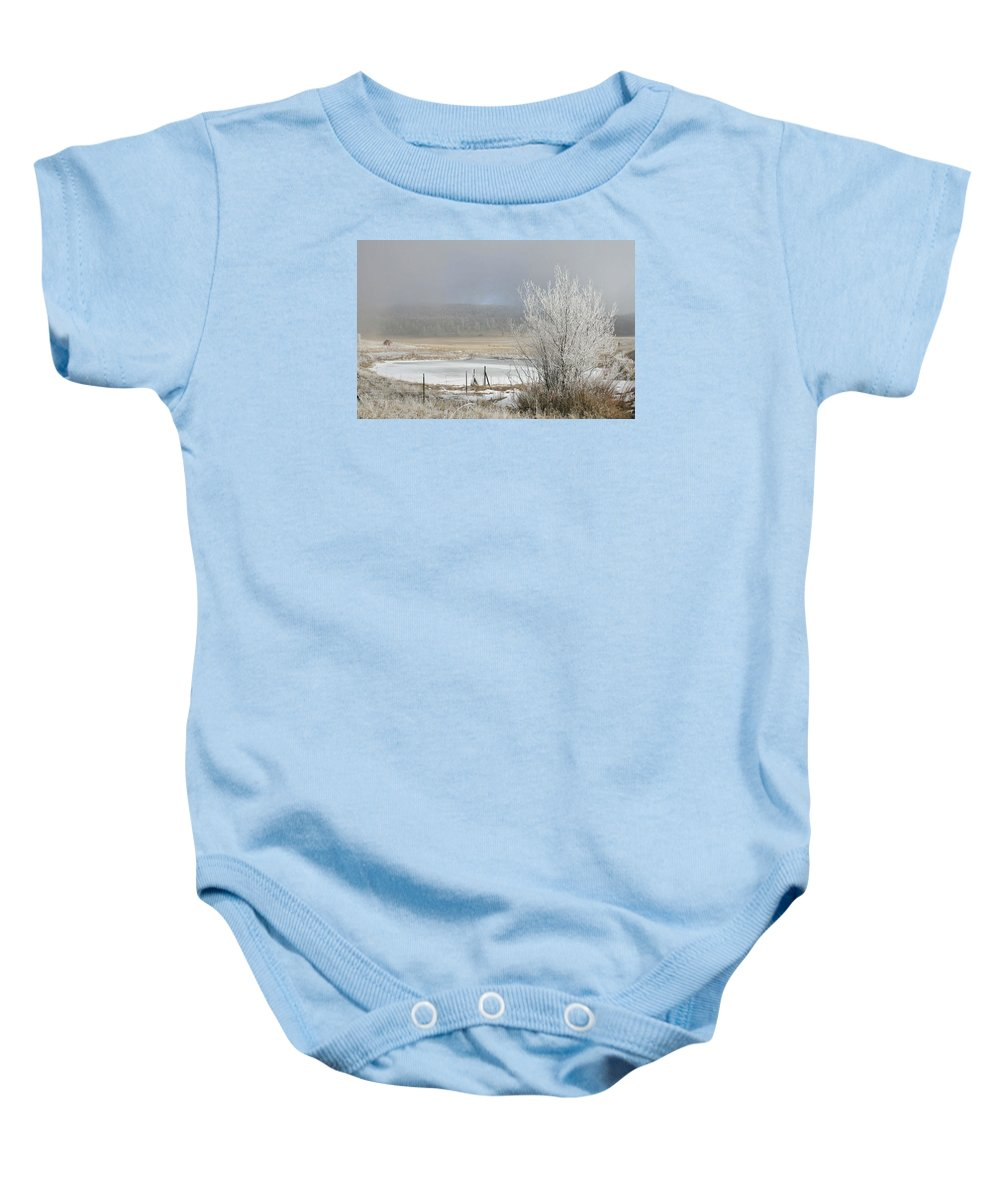 Frozen Fog Baby Onesie featuring the photograph Frozen Fog Ranch Scene by Judithann O'Toole