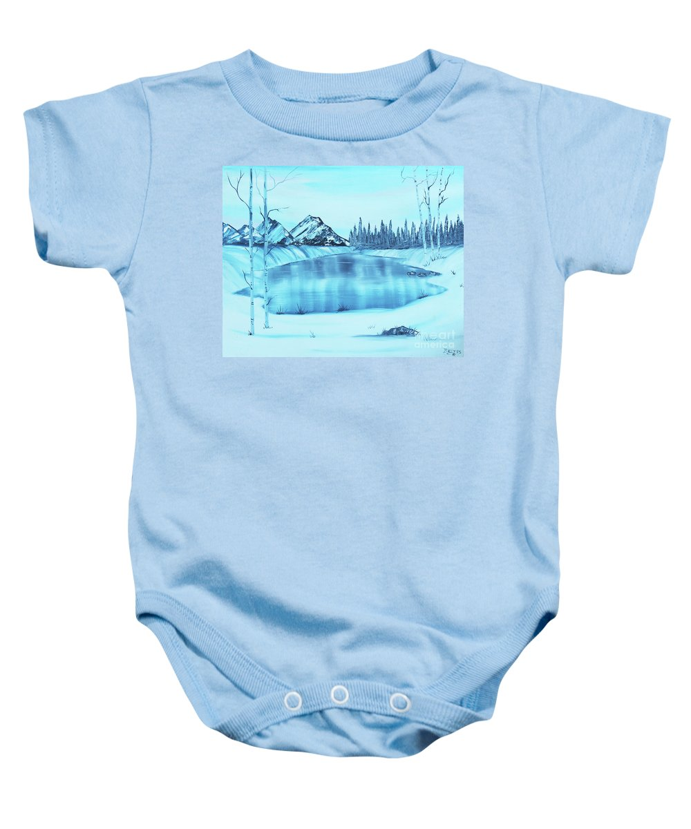 Mountain Baby Onesie featuring the painting Frozen Lake by Betty McGregor