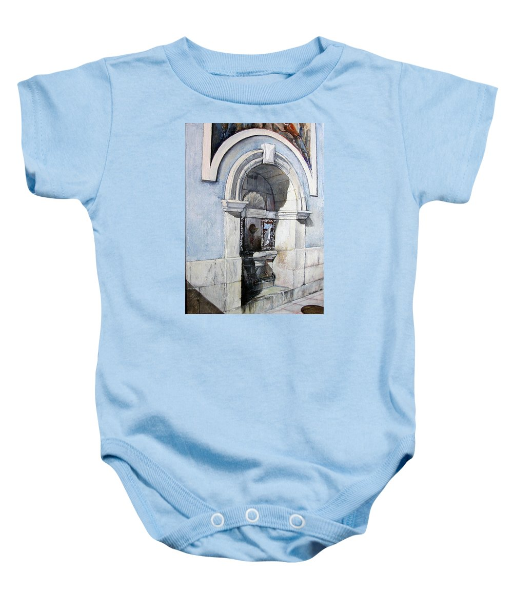 Fuente Baby Onesie featuring the painting Fuente Castro Urdiales by Tomas Castano