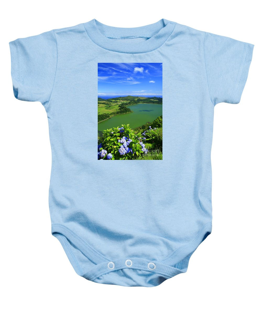 Azores Baby Onesie featuring the photograph Furnas Lake by Gaspar Avila