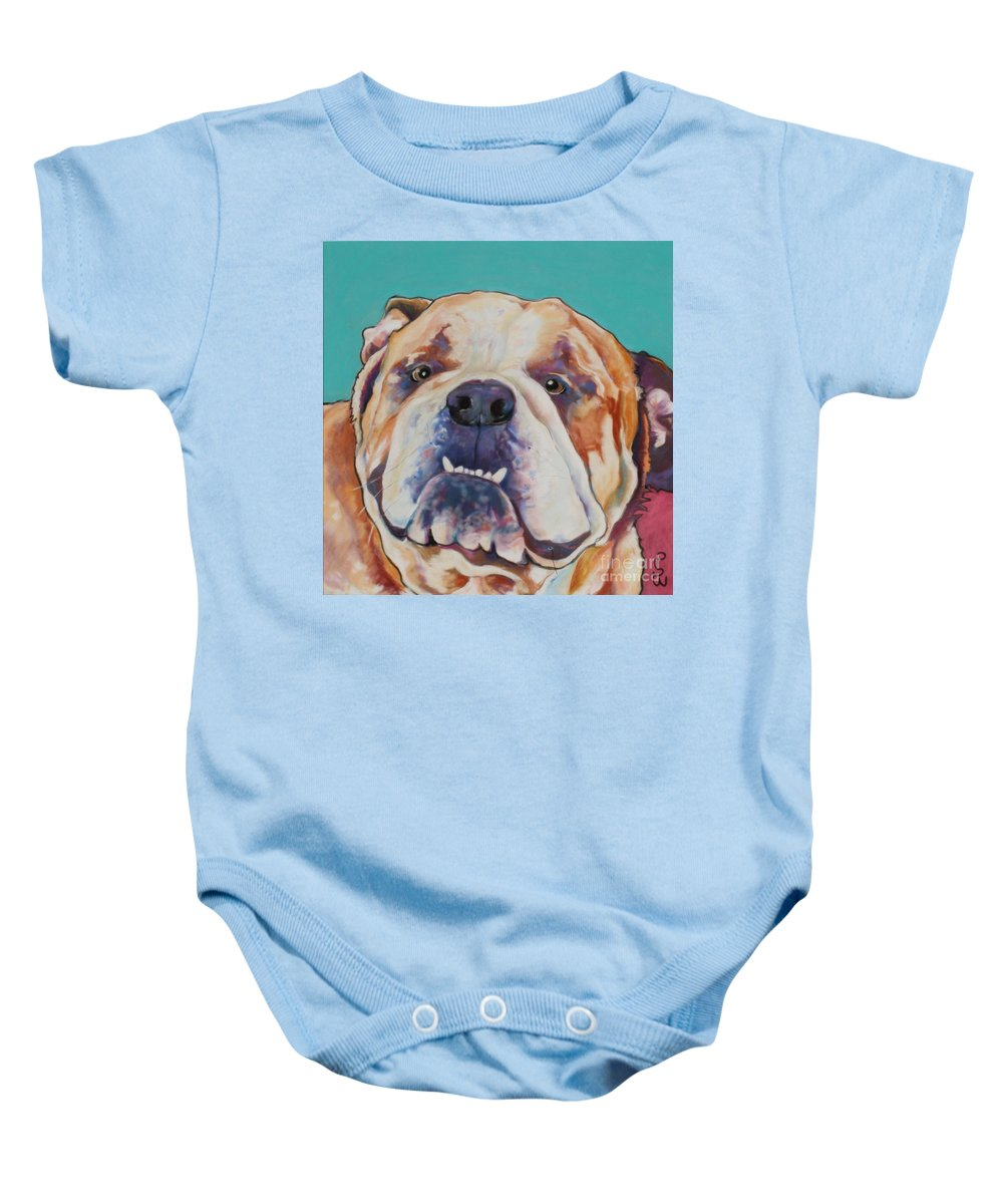 Pat Saunders-white Pet Portraits Baby Onesie featuring the painting Game Face  by Pat Saunders-White