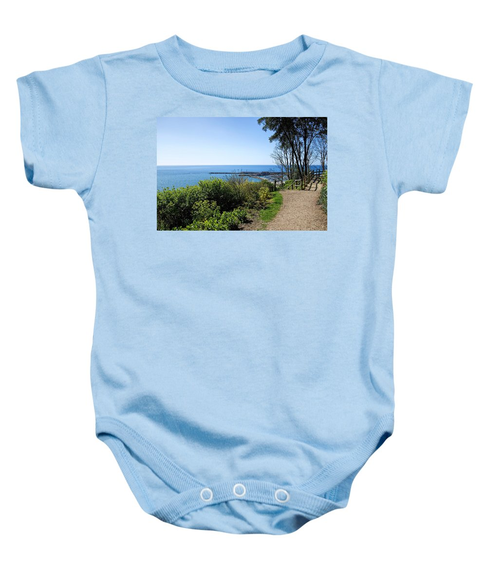 Langmoor Baby Onesie featuring the photograph Gardens Overview - Lyme Regis by Susie Peek