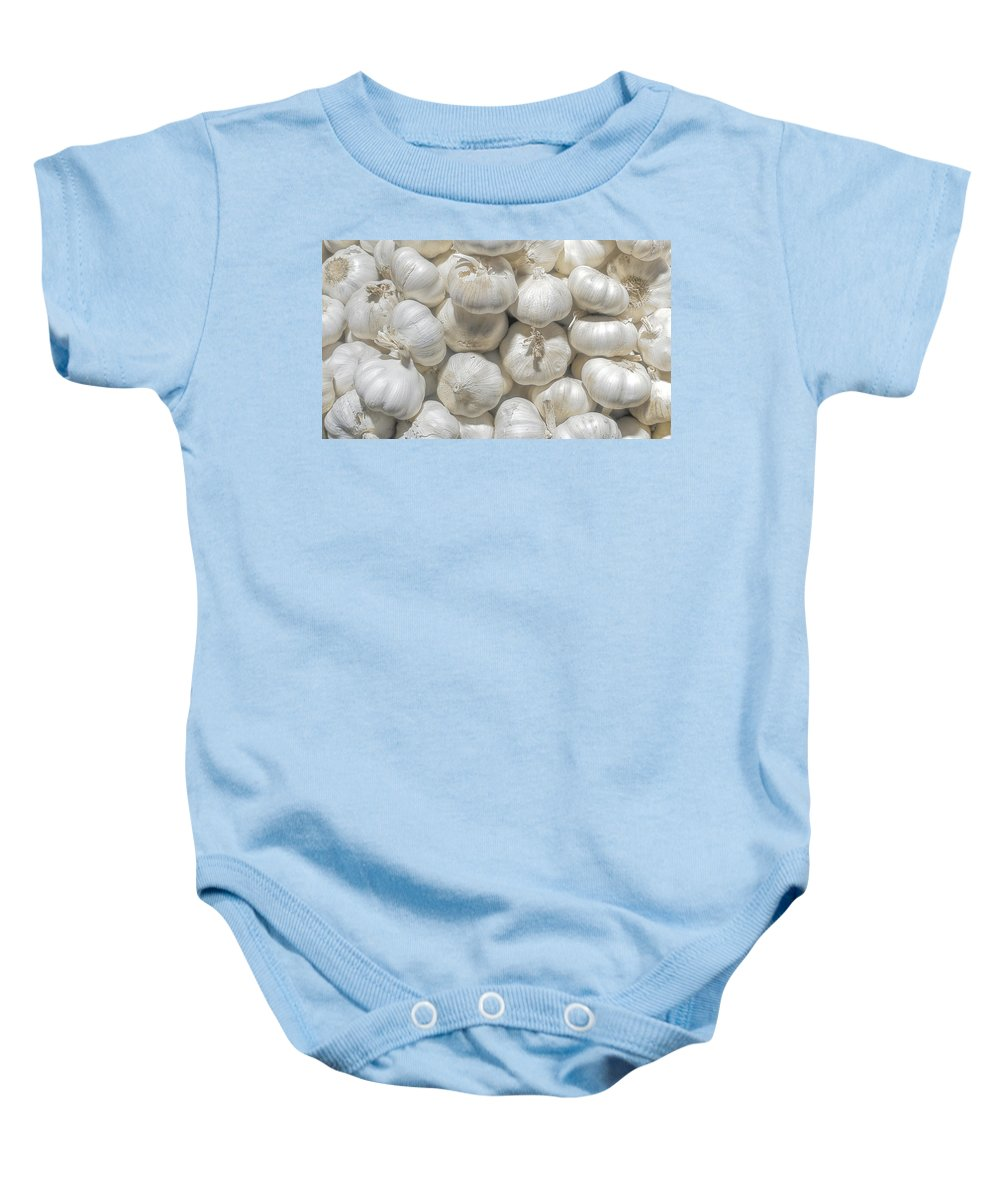 Baby Onesie featuring the photograph Garlic by Charuhas Images
