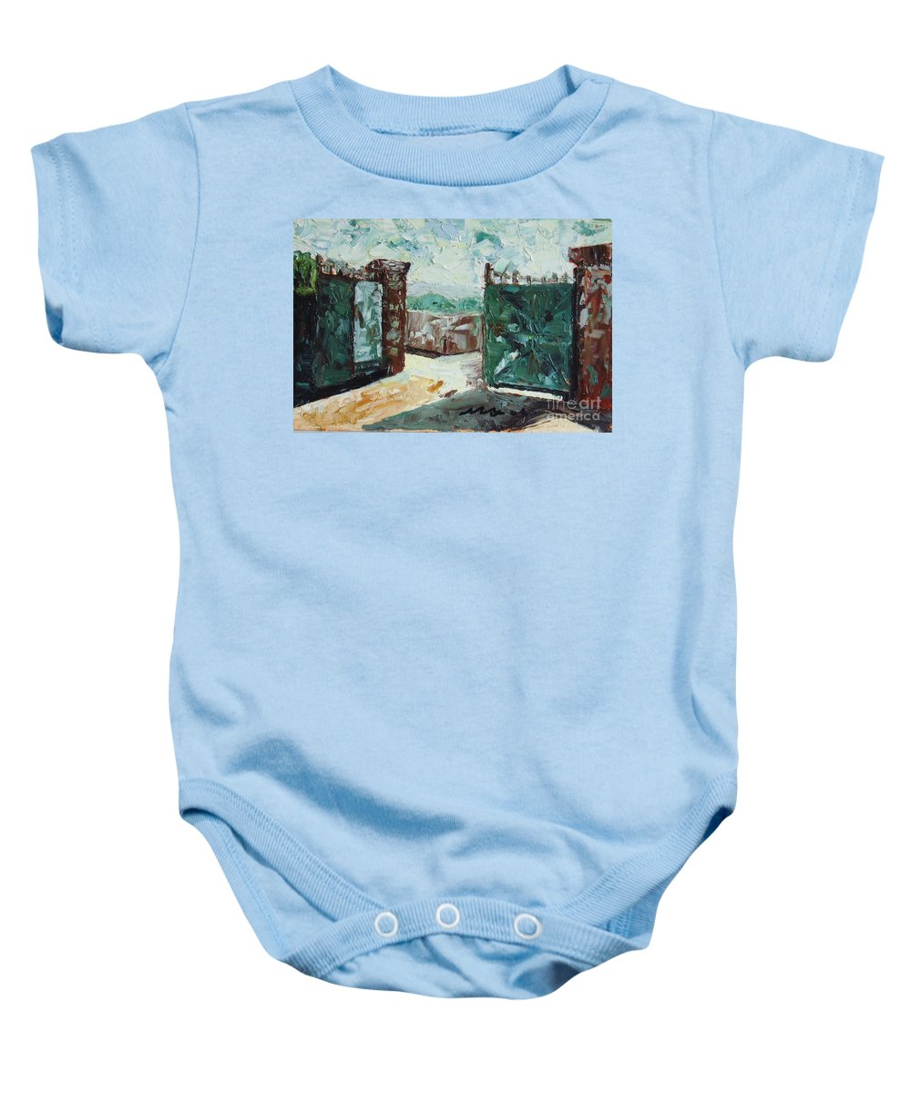 Gate Oil Canvas Baby Onesie featuring the painting Gate2 by Seon-Jeong Kim
