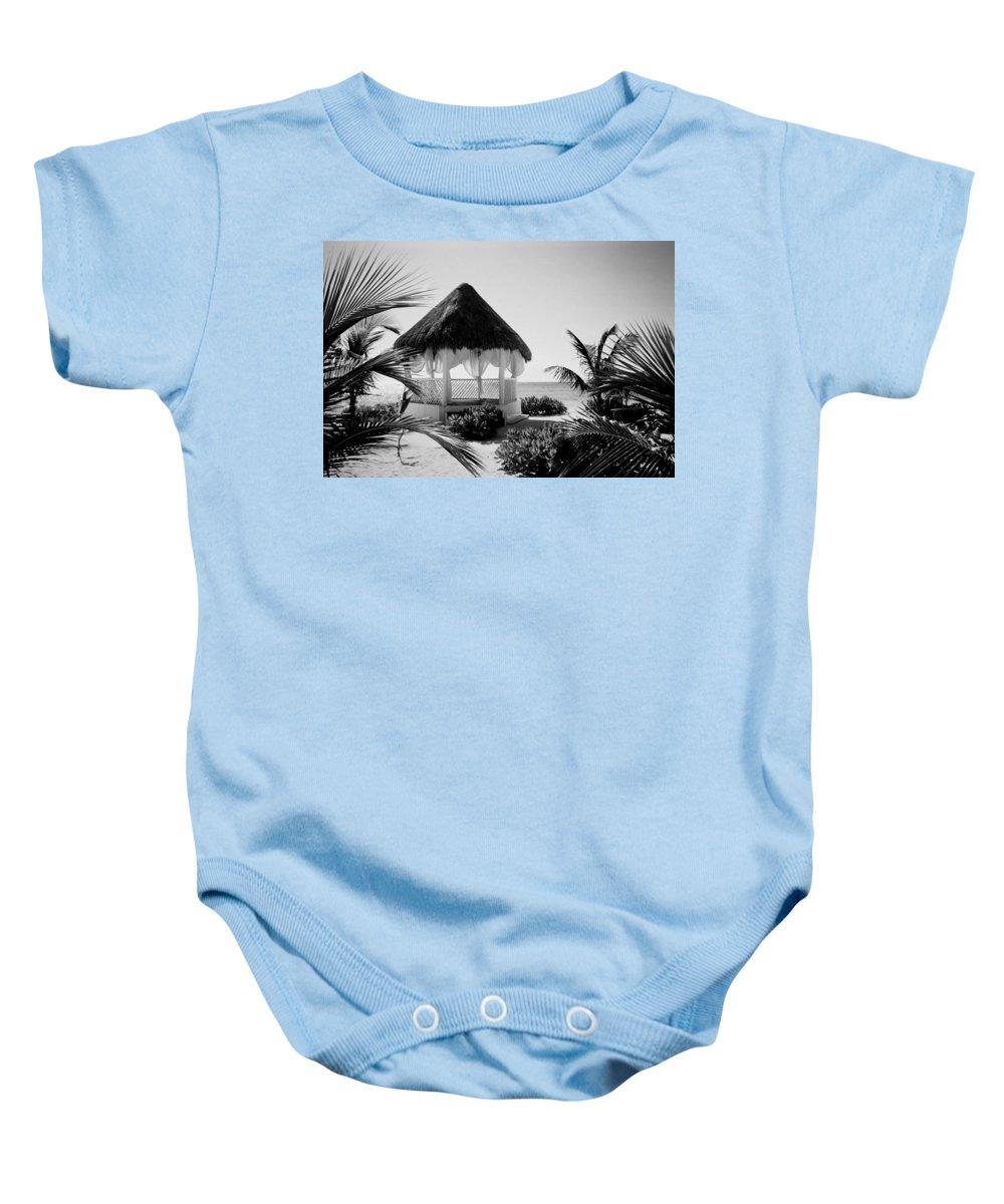 Gazebo Baby Onesie featuring the photograph Gazebo On The Ocean by Anita Burgermeister