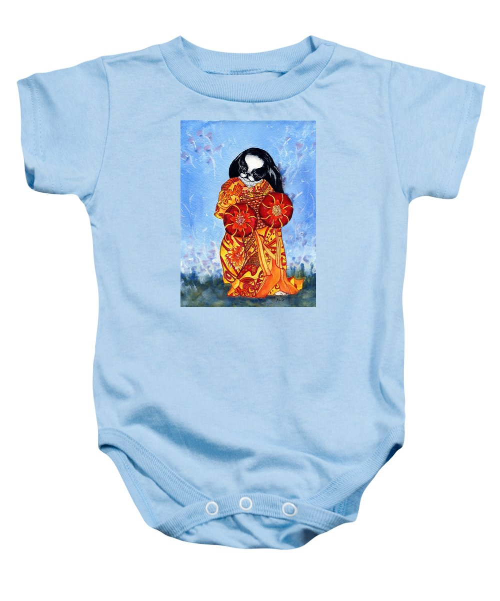Japanese Chin Baby Onesie featuring the painting Geisha Chin by Kathleen Sepulveda
