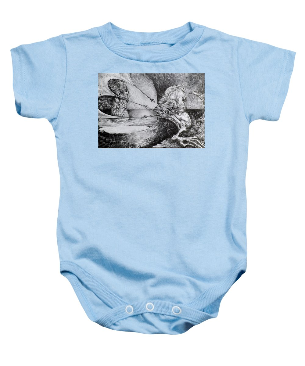 Surrealism Baby Onesie featuring the drawing General Peckerwood In Purgatory by Otto Rapp