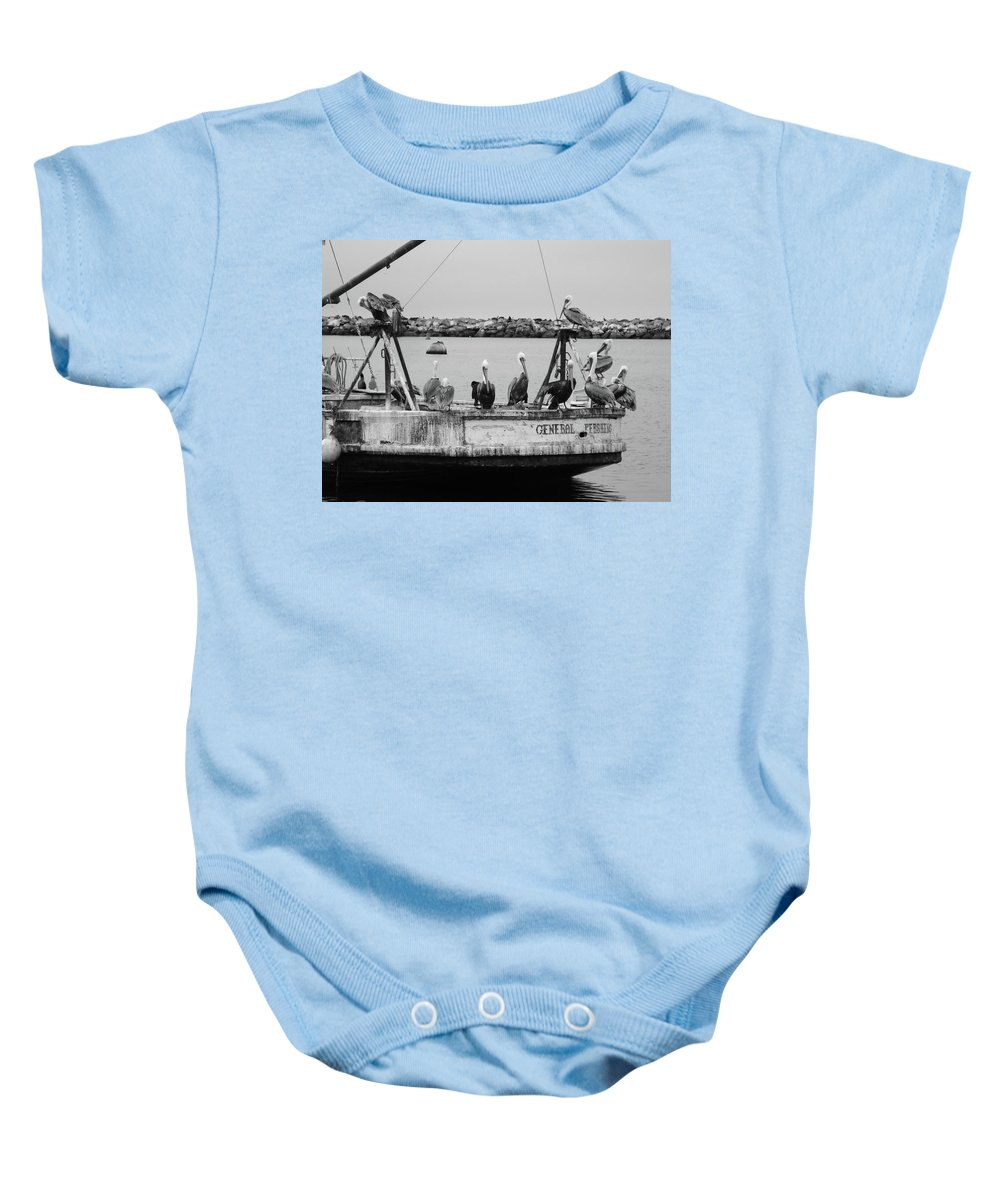 Boat Baby Onesie featuring the photograph General Waiting by Cathi Abbiss Crane