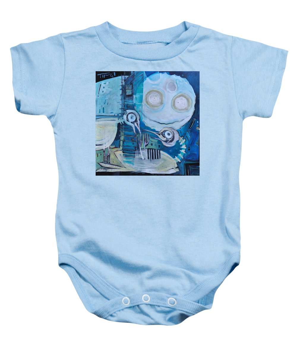 Bird Baby Onesie featuring the painting Ghost Birds At Play by Tim Nyberg