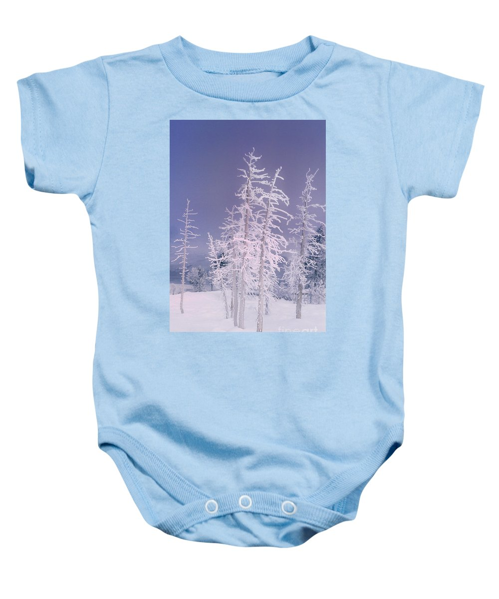 North America Baby Onesie featuring the photograph Ghost Trees Yellowstone National Park by Dave Welling