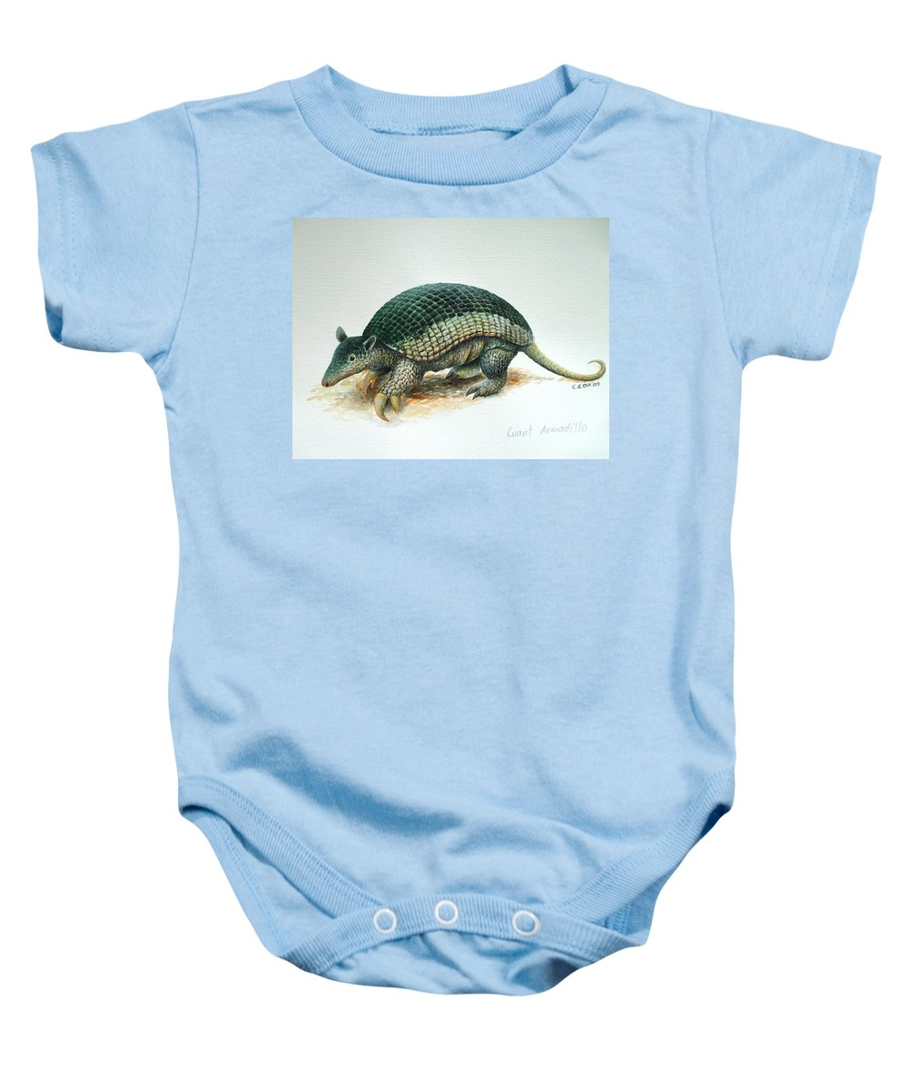 Giant Armadillo Baby Onesie featuring the painting Giant Armadillo by Christopher Cox