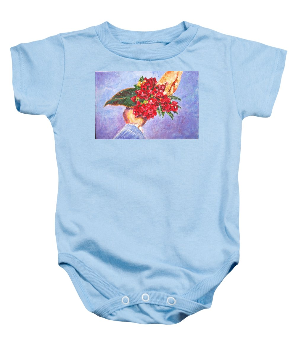 Gift Baby Onesie featuring the painting Gift a bouquet - Bougenvillea by Usha Shantharam