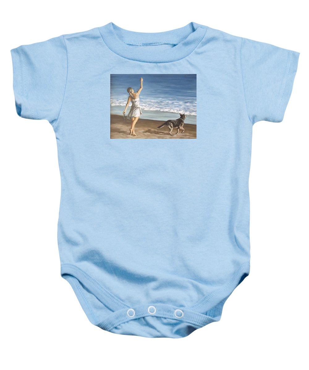 Portrait Girl Beach Dog Seascape Sea Children Figure Figurative Baby Onesie featuring the painting Girl And Dog by Natalia Tejera