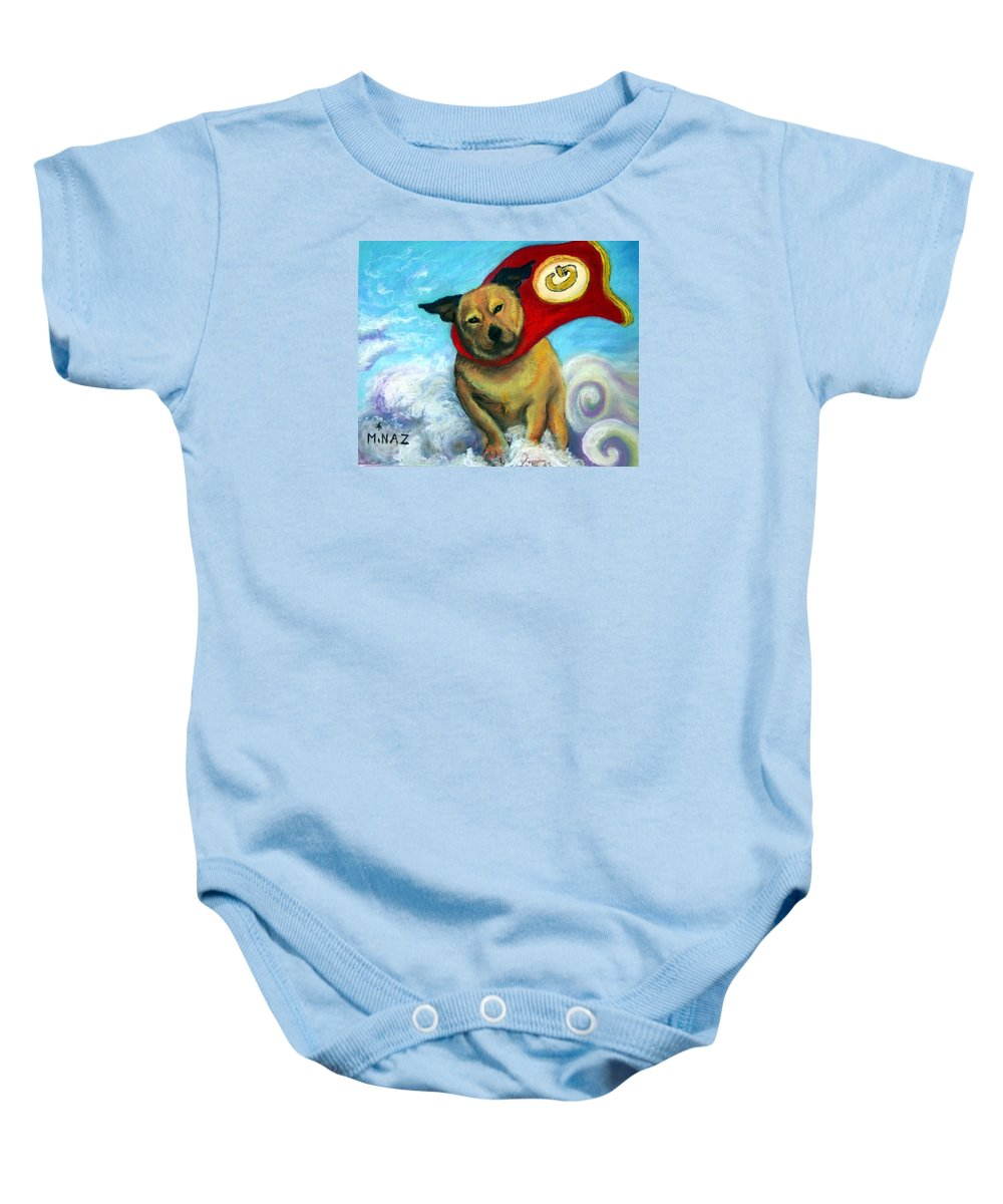 Dog Baby Onesie featuring the painting Gizmo The Great by Minaz Jantz