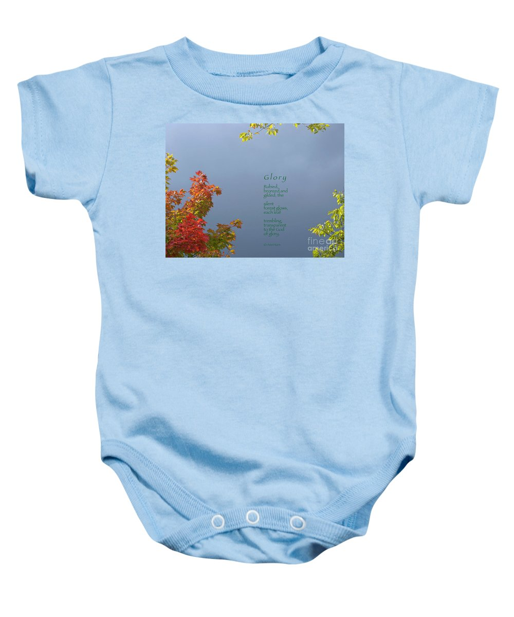 Autumn Baby Onesie featuring the photograph Glory by Ann Horn