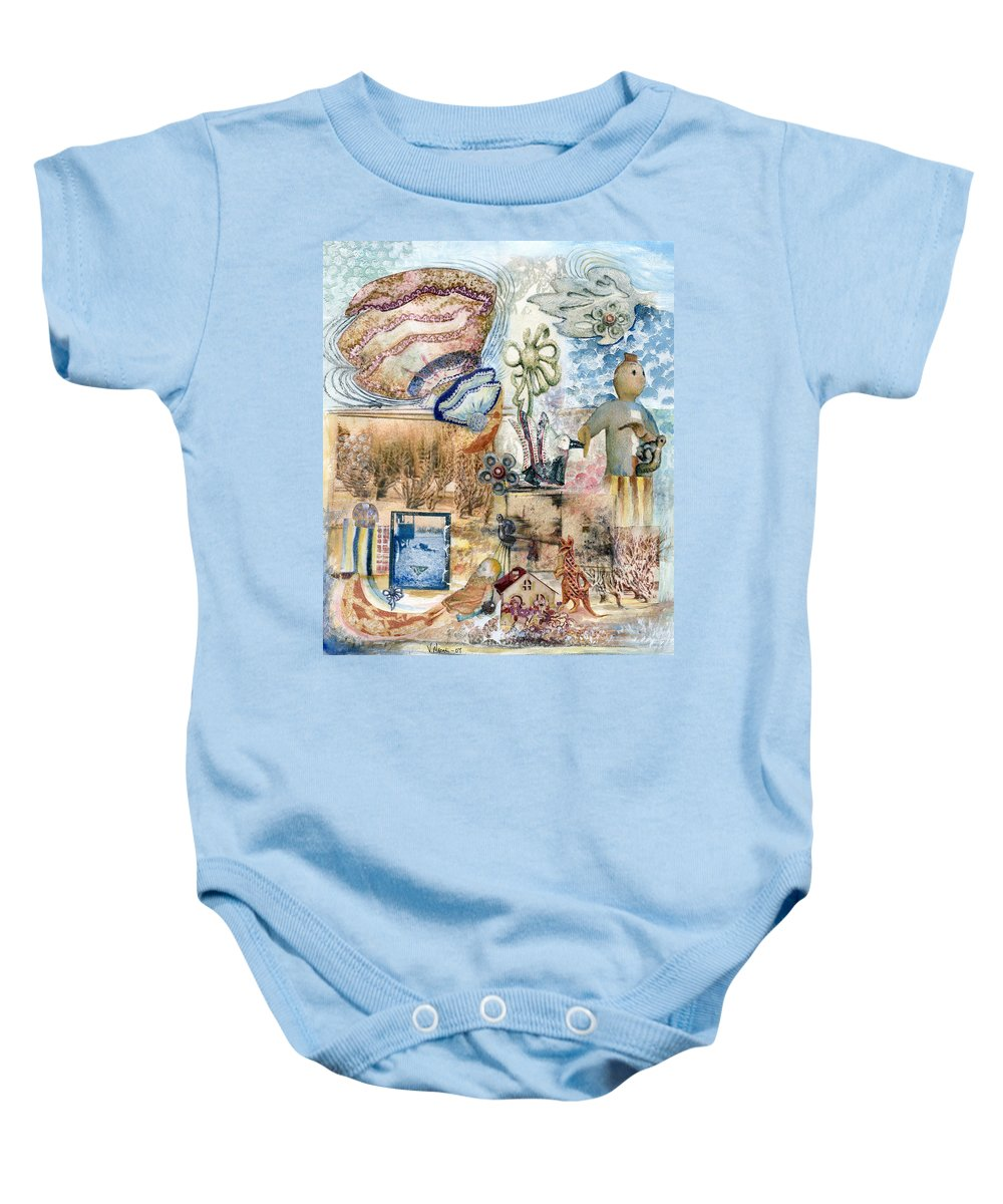 Fantasy Digital Art Baby Onesie featuring the painting Going Down by Valerie Meotti