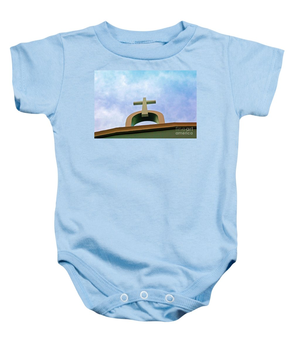 Cross Baby Onesie featuring the photograph Going Up by Debbi Granruth