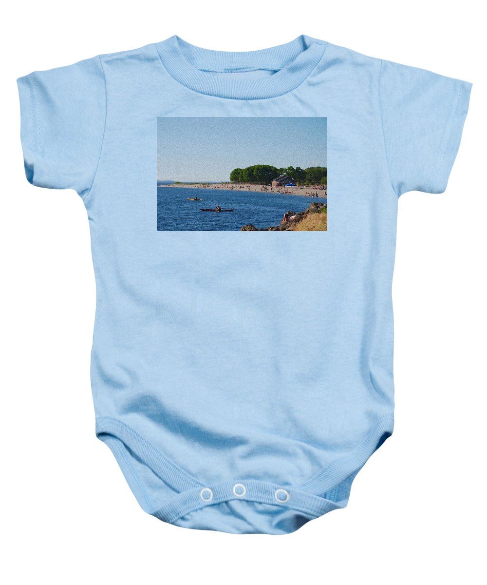 Golden Gardens Baby Onesie featuring the photograph Golden Gardens In Seattle Washington by Carol Eliassen