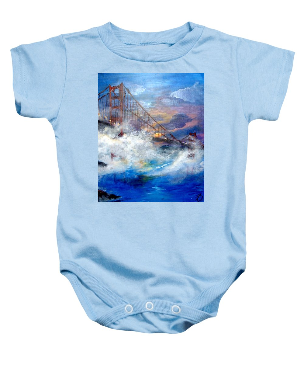 Golden Gate Baby Onesie featuring the painting Golden Gate Sunset by Travis Day