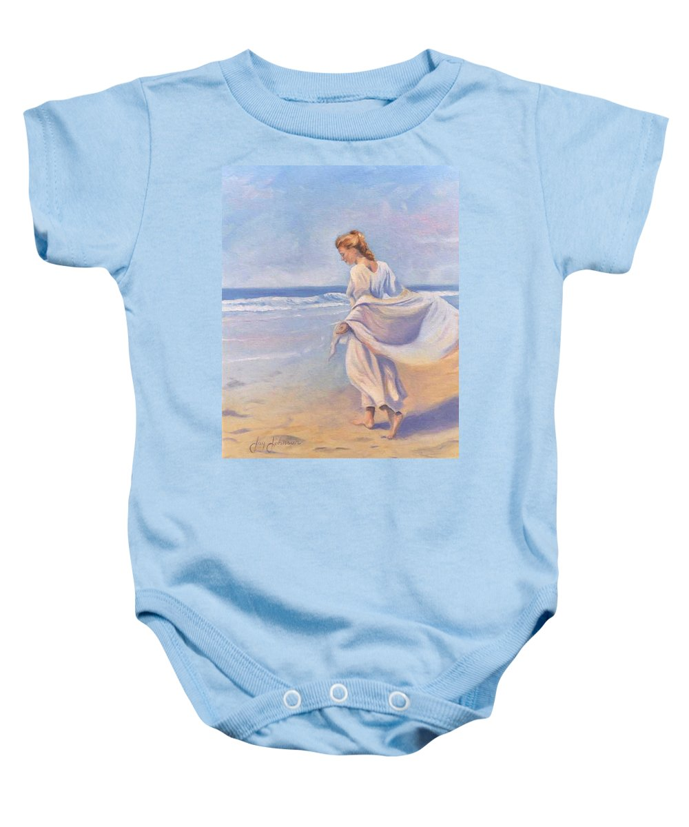 Beach Baby Onesie featuring the painting Golden Girls by Jay Johnson