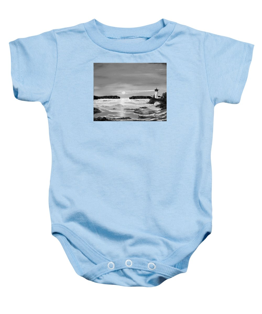 Black And White Baby Onesie featuring the painting Golden Lighthouse Sunset In Black And White by Claude Beaulac