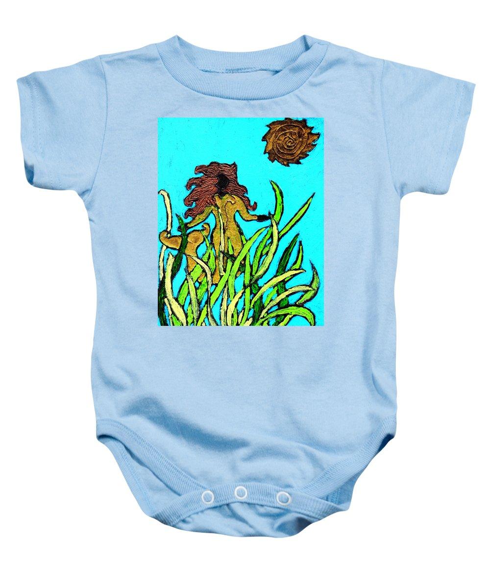 Mermaid Baby Onesie featuring the painting Golden Mermaid by Wayne Potrafka