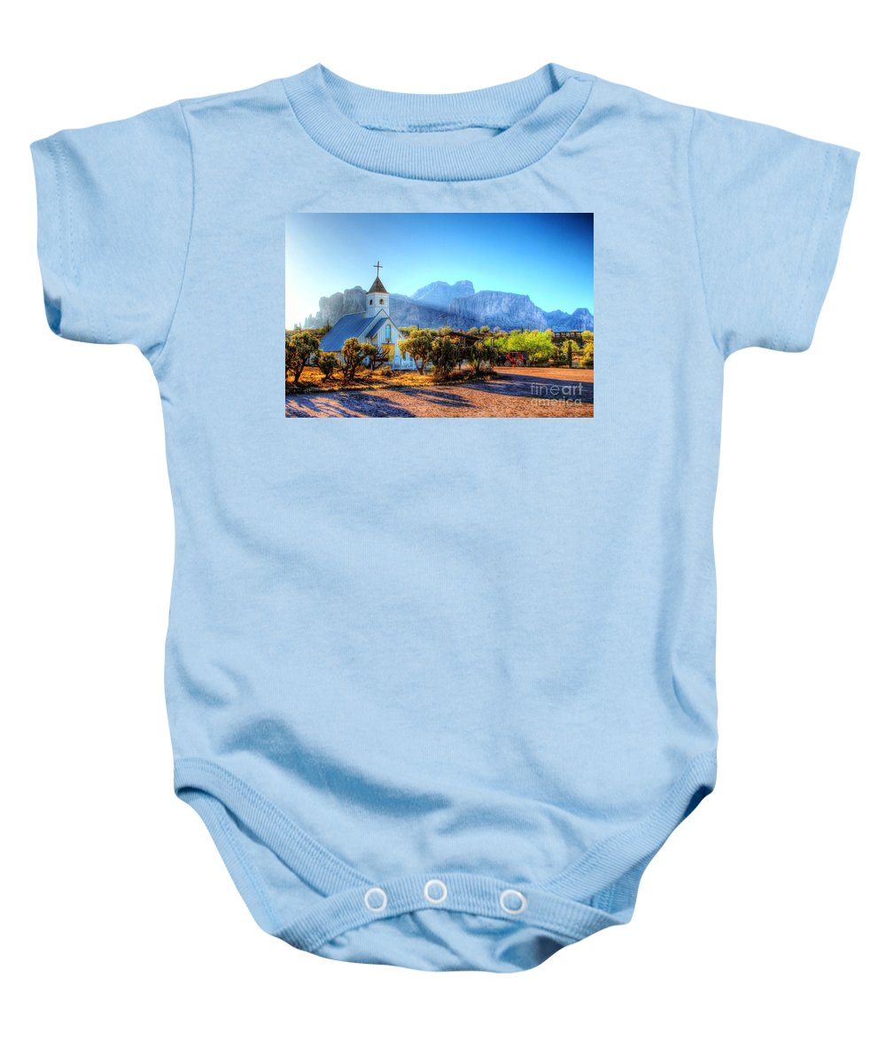 Saguaro Baby Onesie featuring the digital art Goldfield Church by Dan Stone