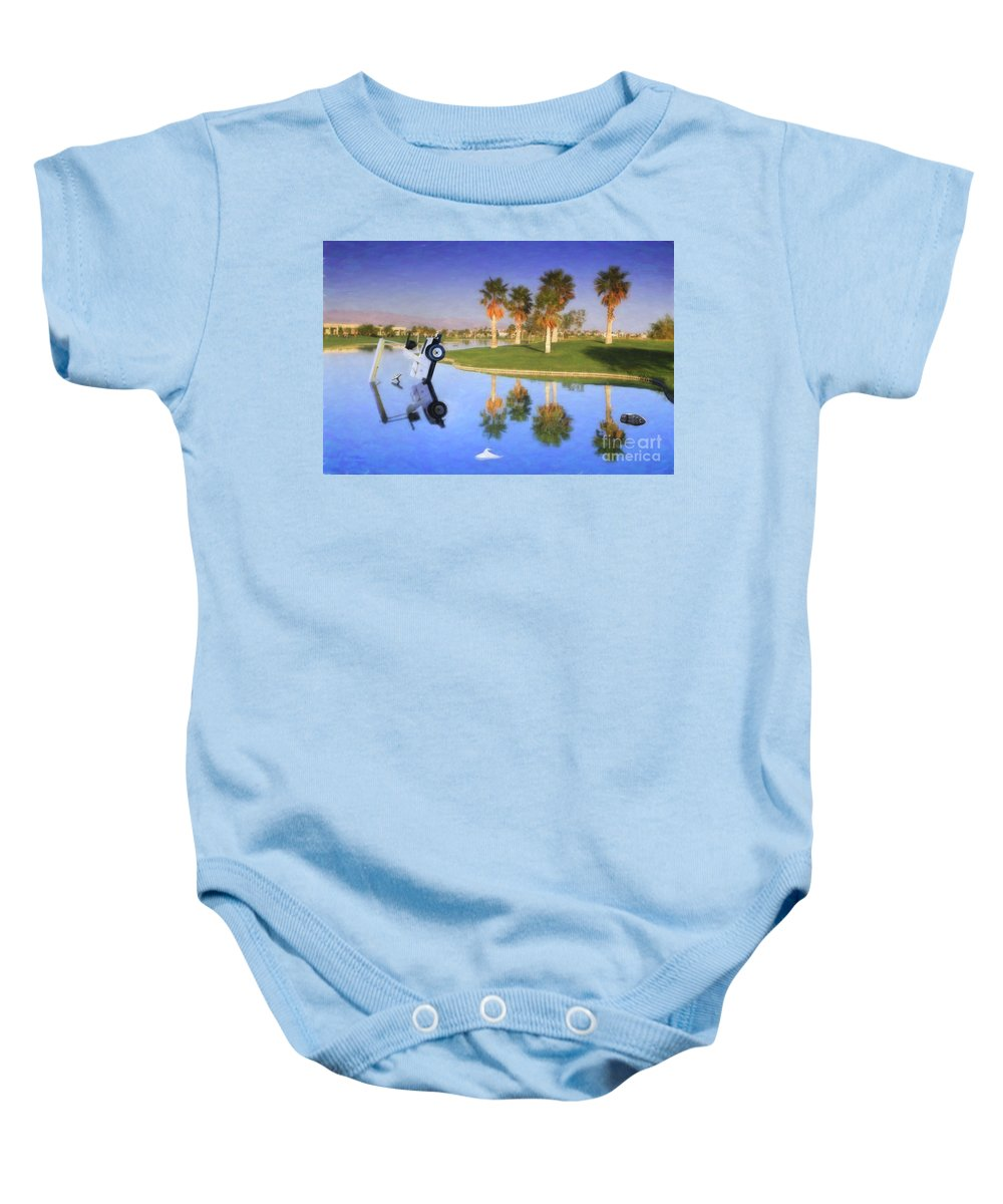 Golf Cart In Water Baby Onesie featuring the photograph Golf Cart Stuck In Water by David Zanzinger
