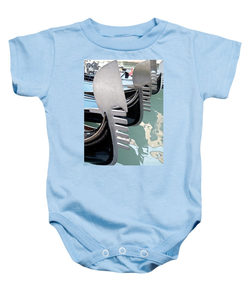 Italy Baby Onesie featuring the photograph Gondola In Line by Heiko Koehrer-Wagner