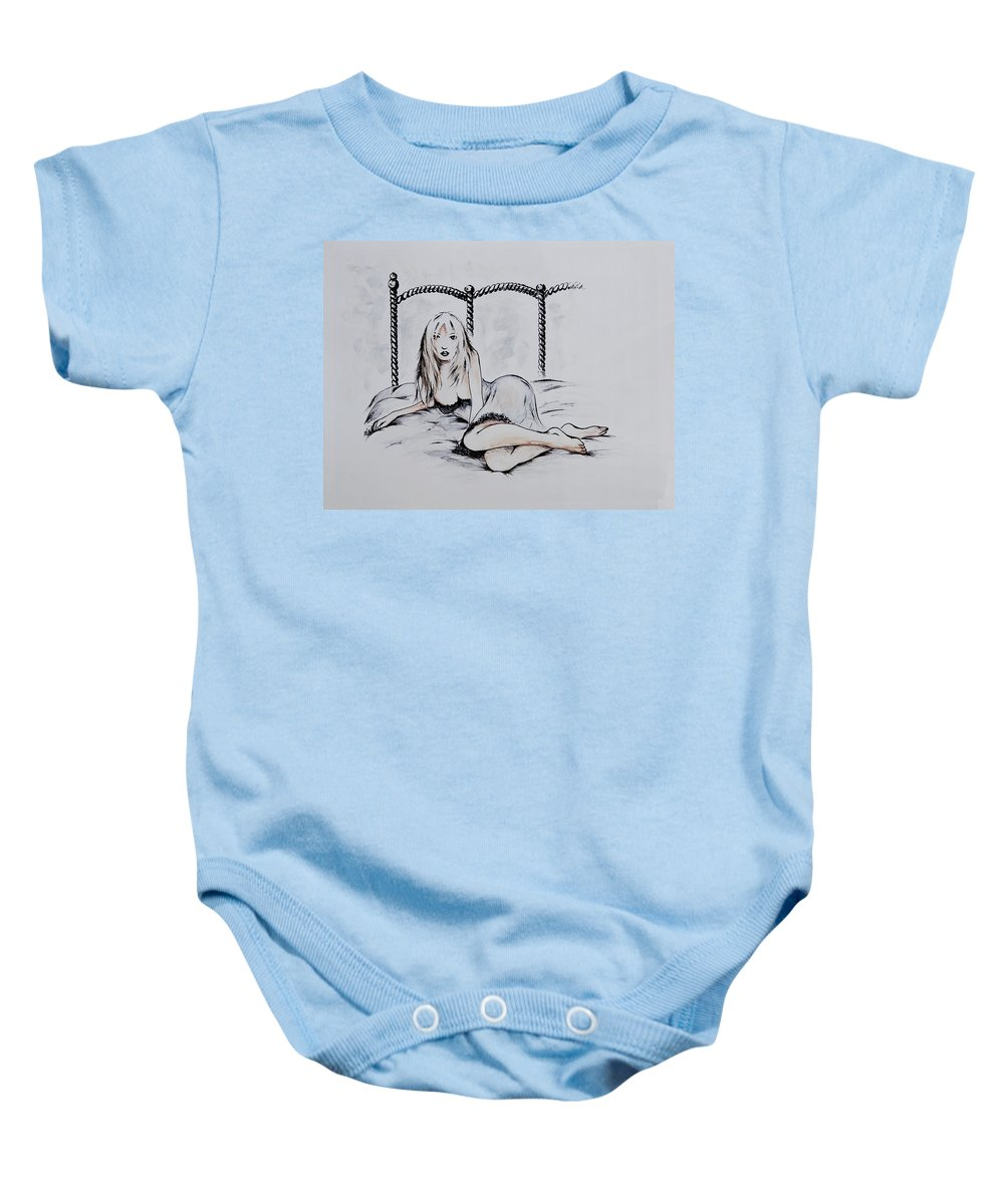 Figure Baby Onesie featuring the drawing Good Girl by Rachel Christine Nowicki