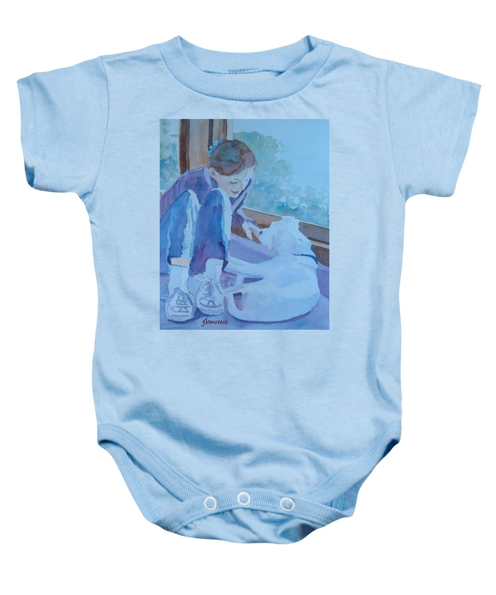 Girl Baby Onesie featuring the painting Good Morning Puppy by Jenny Armitage
