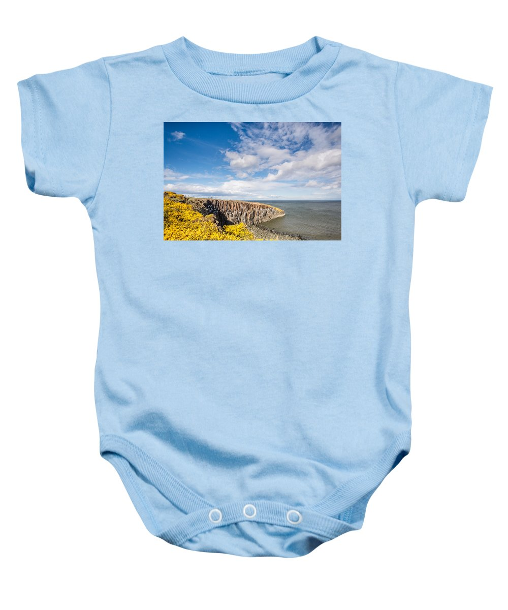 Northumberland Baby Onesie featuring the photograph Gorse At Cullernose Point by David Head
