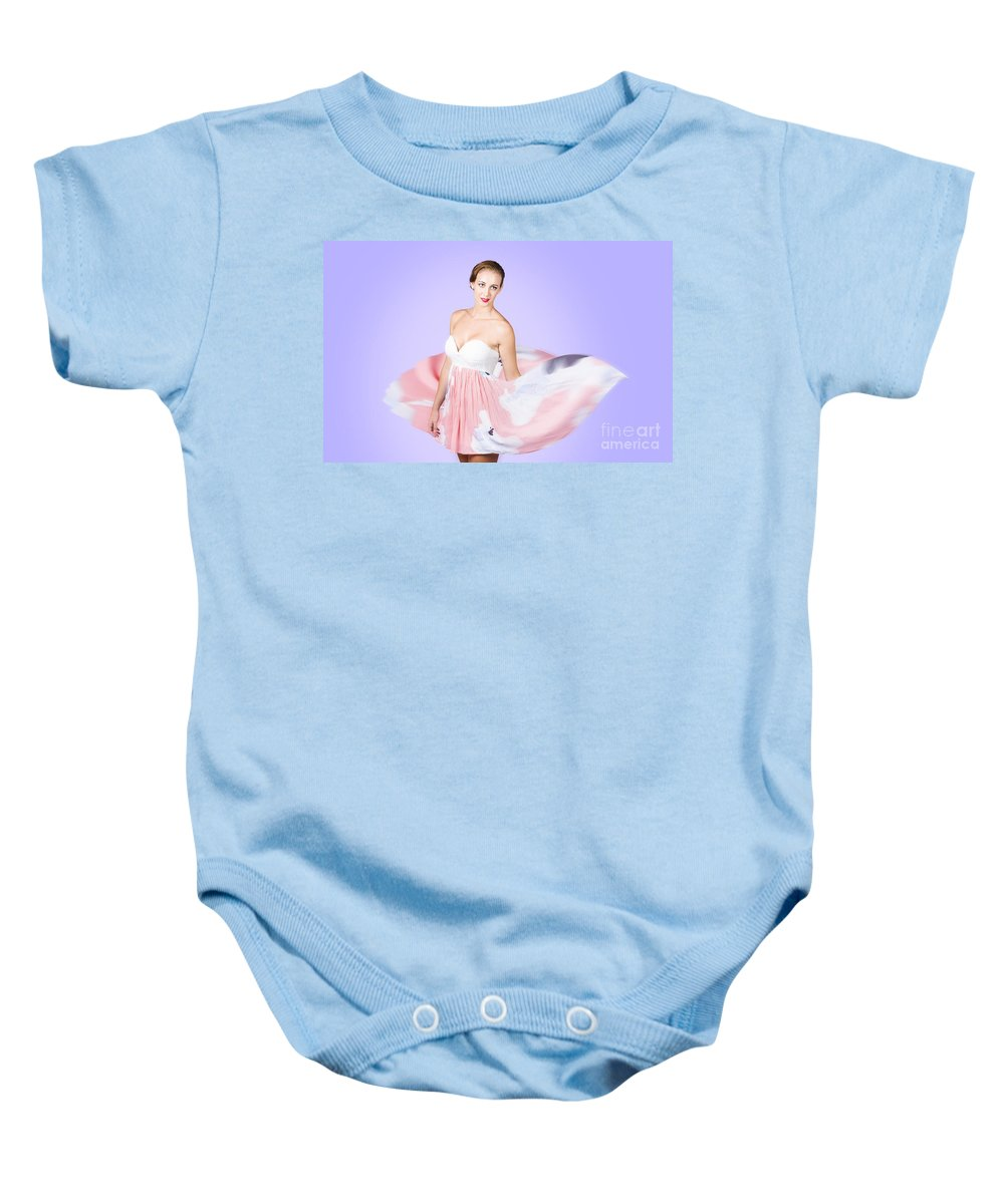 Graceful Baby Onesie featuring the photograph Graceful Dreamy Dancing Girl In Pink Dress by Jorgo Photography - Wall Art Gallery