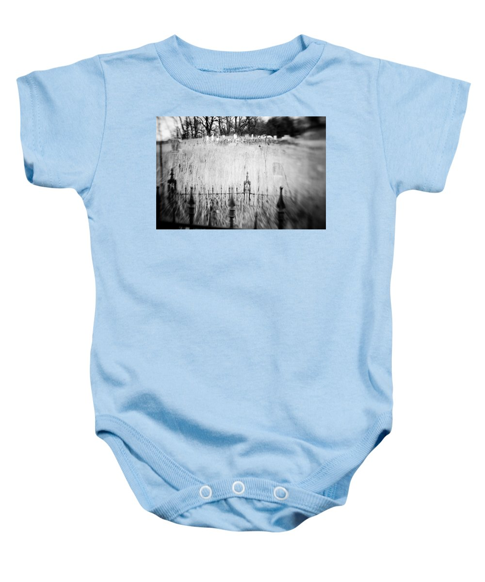 B&w Baby Onesie featuring the photograph Graveyard 6788 by Timothy Bischoff