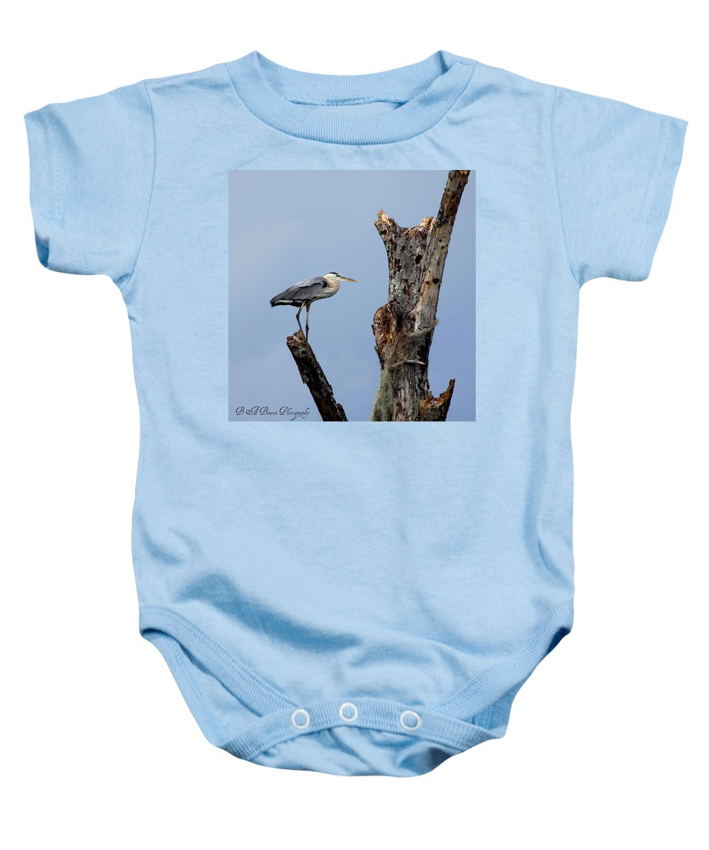 Great Blue Heron Baby Onesie featuring the photograph Great Blue Heron Perched by Barbara Bowen