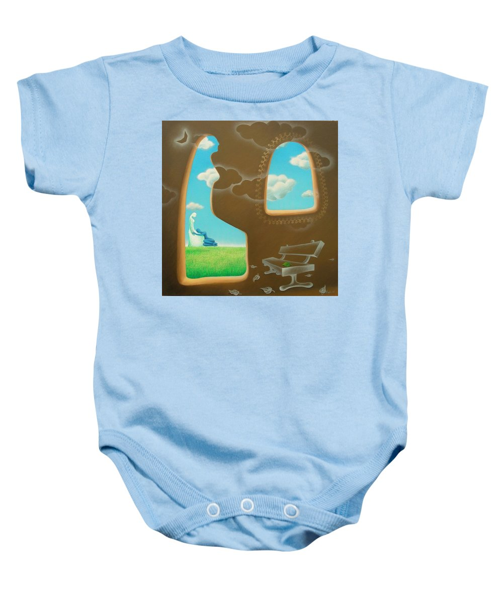 Romantic Baby Onesie featuring the painting Green And Blue by Raju Bose