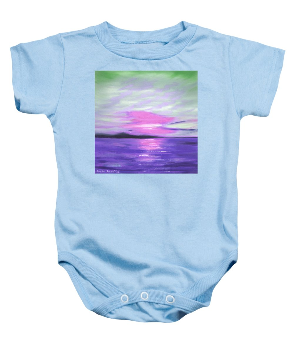 Green Baby Onesie featuring the painting Green Skies and Purple Seas Sunset by Gina De Gorna