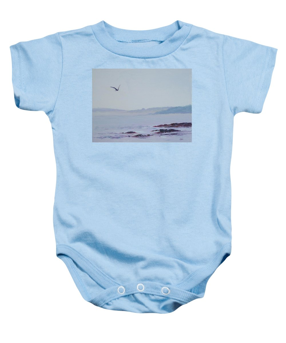 Seascape Baby Onesie featuring the painting Grey Day In Newport by Lea Novak
