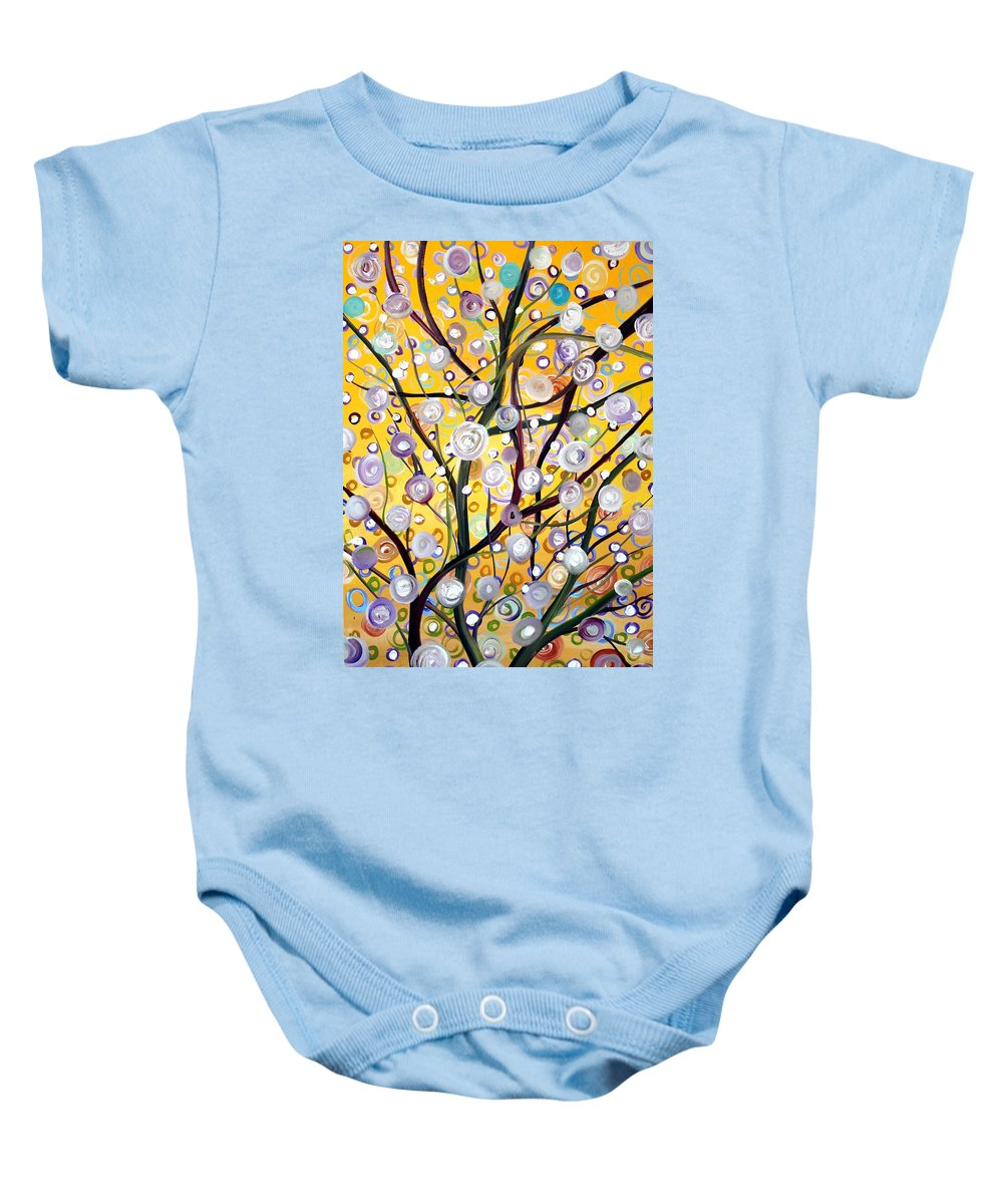 Landscape Baby Onesie featuring the painting Growing Together by Luiza Vizoli