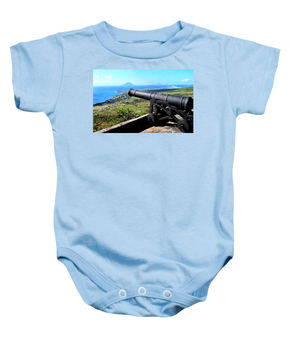 Brimstone Baby Onesie featuring the photograph Guarding The Channel by Ian MacDonald