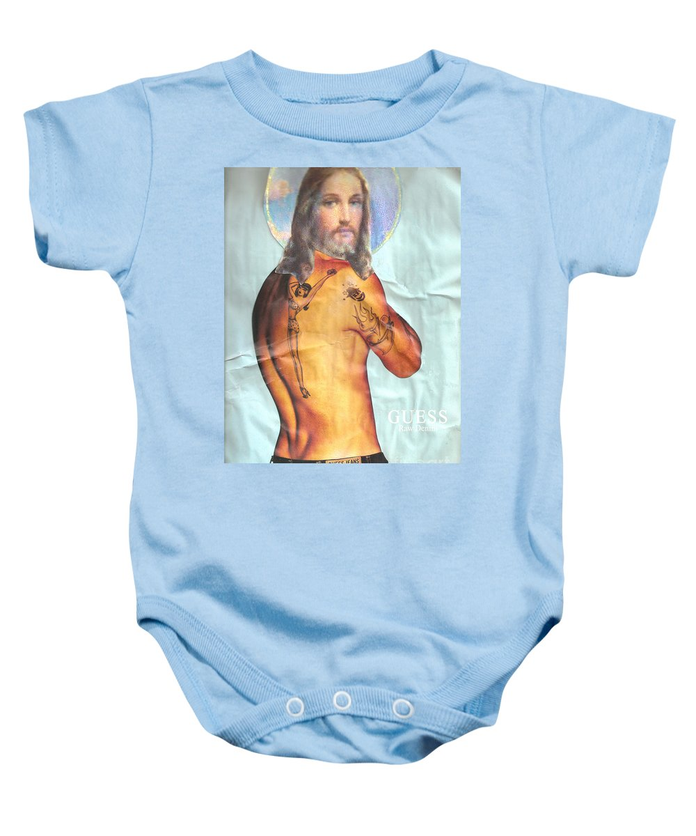 Jesus Baby Onesie featuring the mixed media Guess Jesus by Jaime Becker