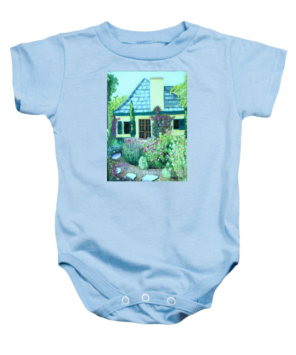Cottage Baby Onesie featuring the painting Guest Cottage by Laurie Morgan