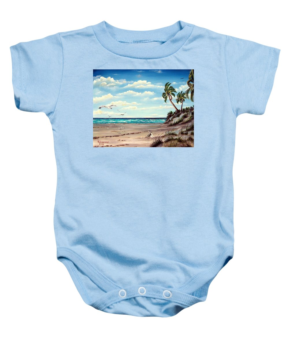 Art Baby Onesie featuring the painting Gulf Dunes by Riley Geddings
