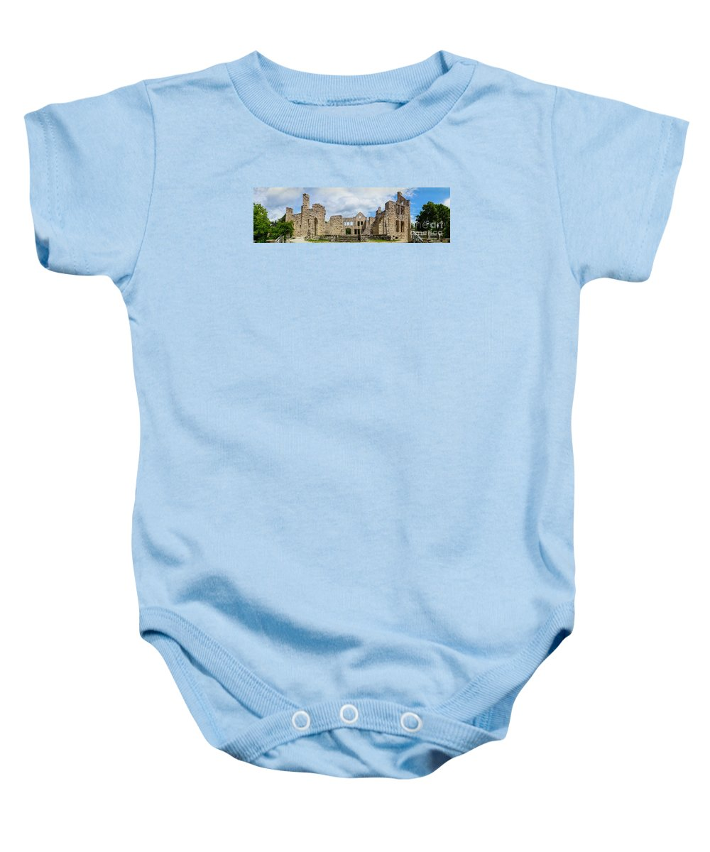America Baby Onesie featuring the photograph Ha Ha Tonka Castle Panorama by Jennifer White