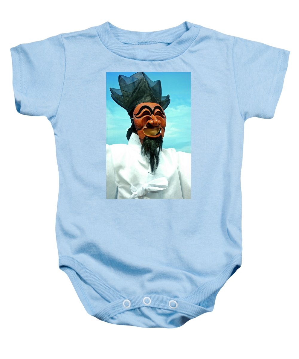 Asia Baby Onesie featuring the photograph Hahoe Mask by Michele Burgess