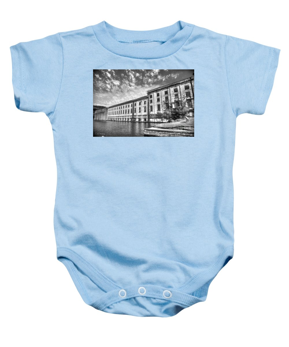 Reid Callaway Hales Bar Dam Baby Onesie featuring the photograph Hales Bar Dam B W Tennessee Valley Authority Tennessee River Art by Reid Callaway