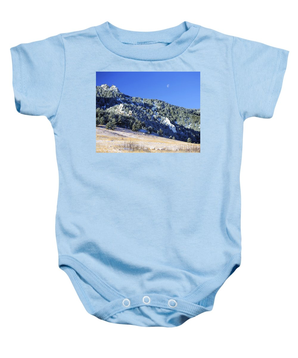 Nature Baby Onesie featuring the photograph Half Moon Over The Flatirons by Marilyn Hunt