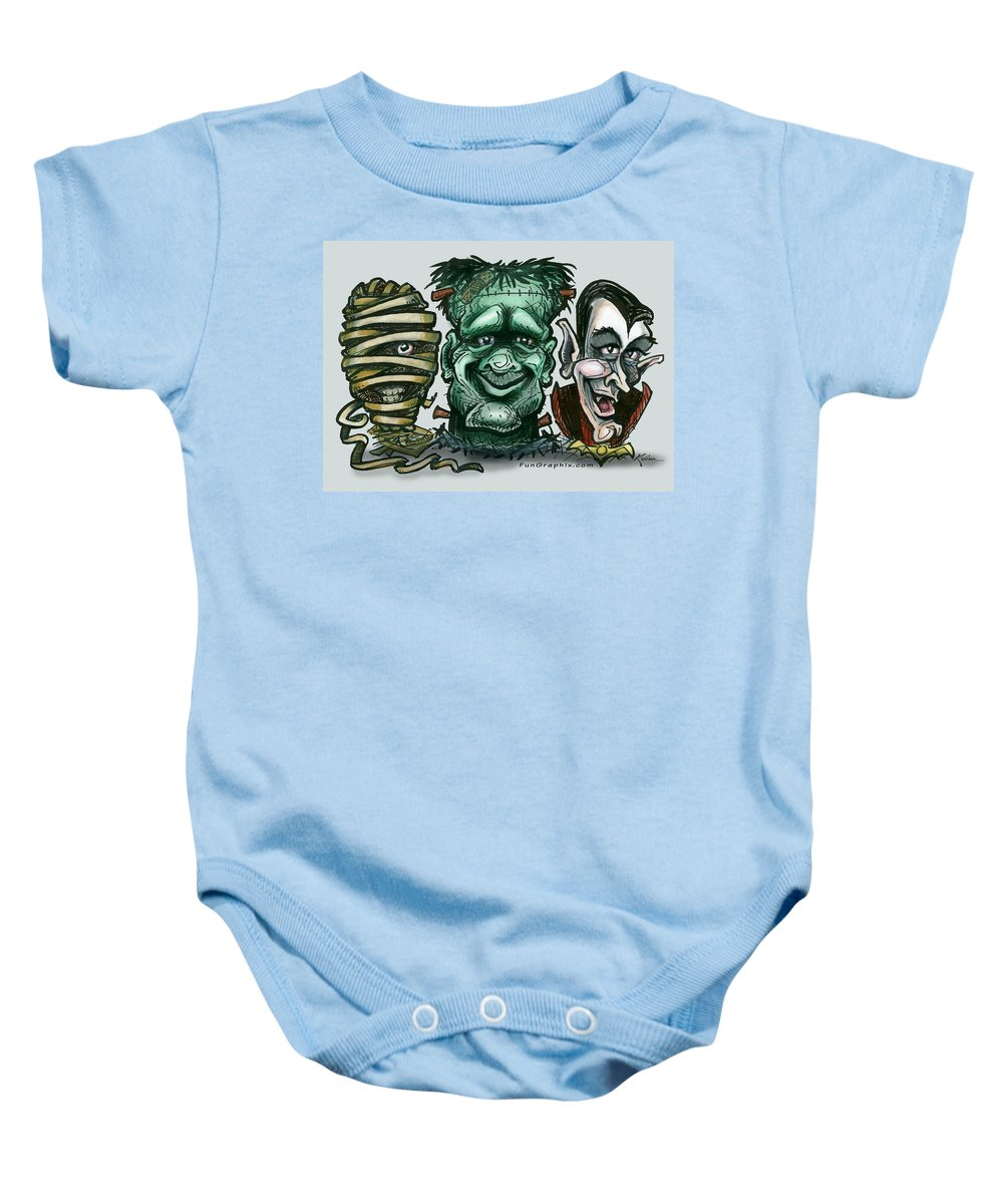 Halloween Baby Onesie featuring the greeting card Halloween Monsters by Kevin Middleton