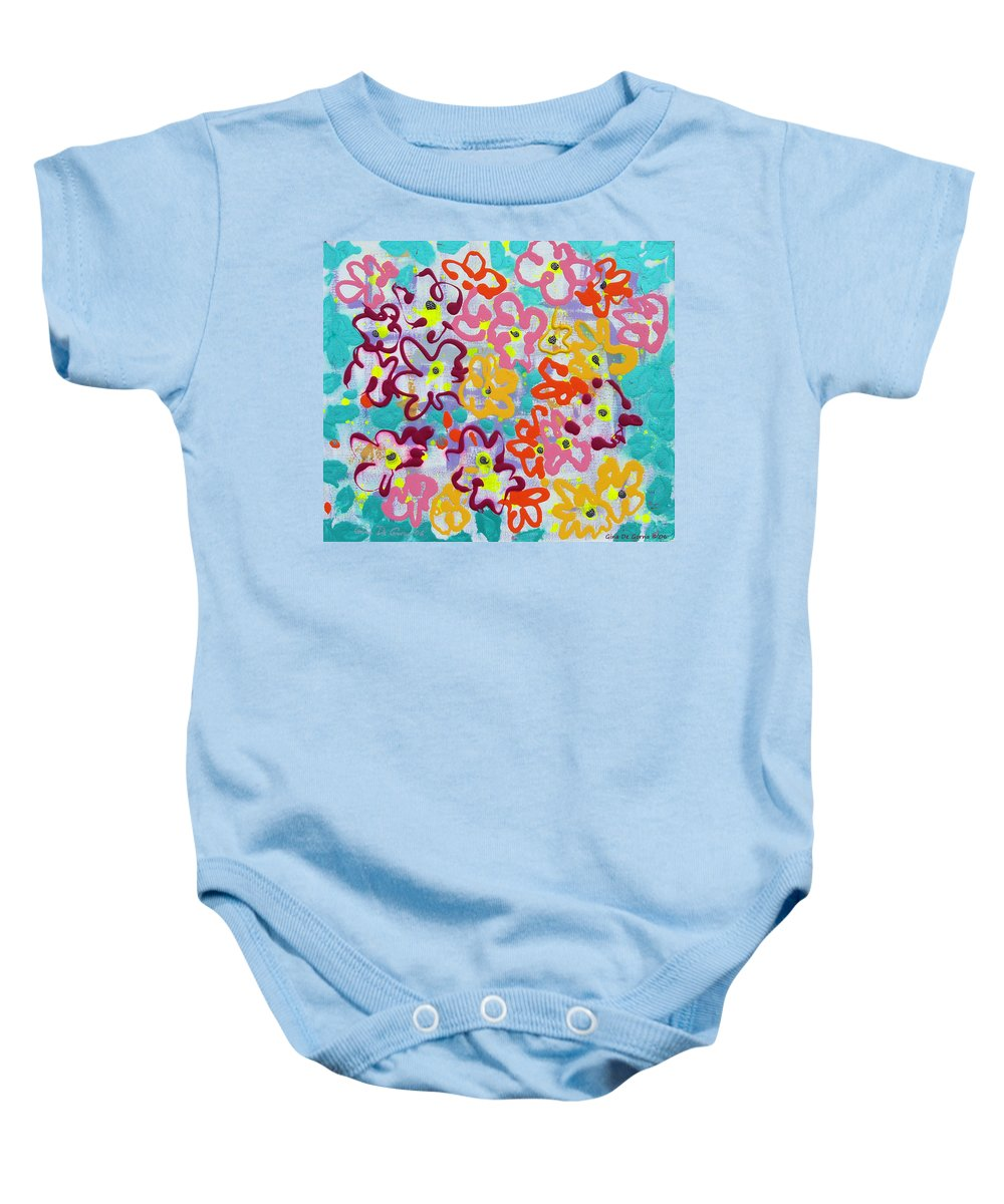 Abstract Baby Onesie featuring the painting Happy Abstract Flowers by Gina De Gorna